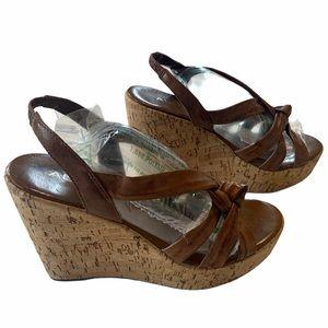 Aldo sandals brown slip on cork wedge heels size 8